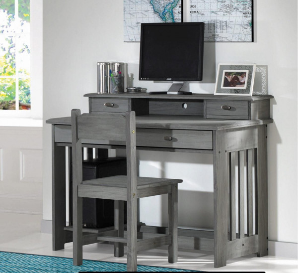 DISCOVERY DESK WITH HUTCH AND CHAIR CHARCOAL GRAY (3267-3267H-3275)
