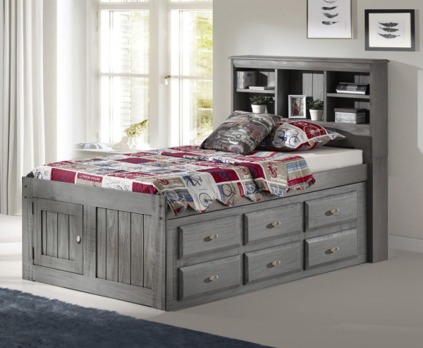 DISCOVERY TWIN BOOKCASE CAPTAINS BED W/6 DRWS CHARCOAL W/MATT (3220-K6-904)