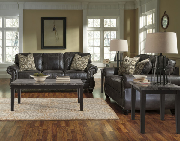 ASHLEY BREVILLE CHARCOAL SOFA & LOVESEAT (80004-38-35)