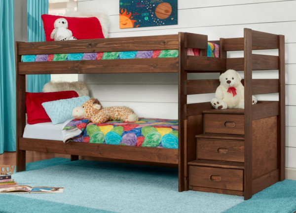 SIMPLY BUNKBEDS TWIN/TWIN STAIRBED BOLTLESS WITH INNERSPRING BUNKIES (6087B-117-117)