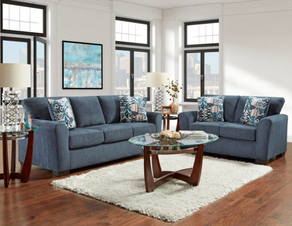 AFFORDABLE Allure Navy Sofa and Loveseat (3333-3332 ALLURE NAVY)