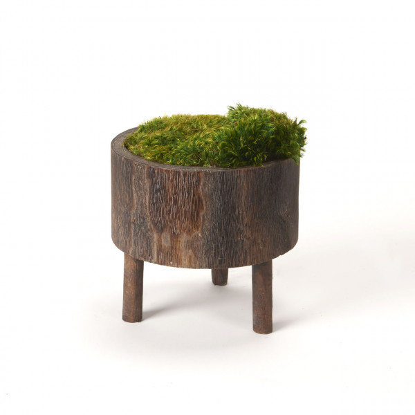 D&W SILKS PRESERVED MOOD MOSS IN WOODEN BOWL (197030)
