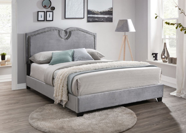 MYCO Kimberly Scalloped Queen Bed, Silver (KM8004-Q-SV)
