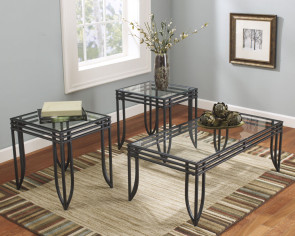 ASHLEY EXETER BLACK BROWN METAL 3 PC TABLE SET (T113-13)