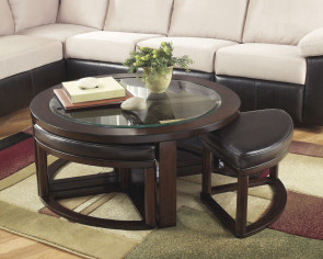 ASHLEY MARION DARK BROWN COCKTAIL TABLE W/ 4 STOOLS & 2 END TABLES (t477-8-6-6)