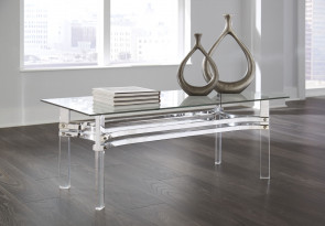 ASHLEY BRADDONI CHROME FINISH COCKTAIL & 2 END TABLES (T420-1-6-6)