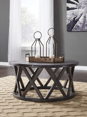 ASHLEY SHARZANE GRAYISH BROWN ROUND COCKTAIL & 2 END TABLE (T711-8-6-6)
