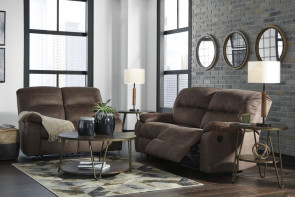 ASHLEY Bolzano Coffee Reclining Sofa and Loveseat (93802-81-86)
