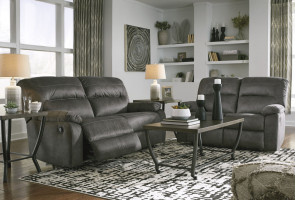 BENCHCRAFT Bolzano Grey Reclining Sofa and Loveseat (93803-81-86)
