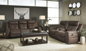 ASHLEY Jesolo Coffee Reclining Sofa and Console Loveseat (86704-88-94)