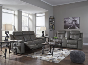 ASHLEY Jesolo Dark Gray Reclining Sofa and Console Loveseat (86705-88-94)