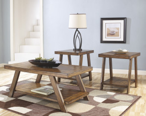 ASHLEY BRADLEY BURNISHED BROWN THREE PACK OF TABLES (T392-13)