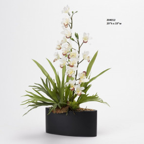 D&W SILKS WHITE CYMBIDIUM ORCHIDS AND STAG HORN FERN IN OVAL METAL PLANTER (204012)