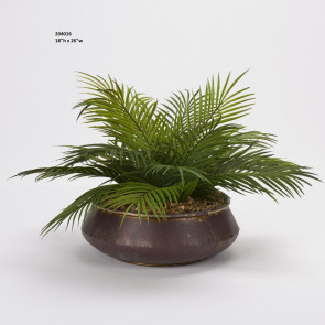 D&W SILKS PALM FRONDS IN AGED COPPER BOWL (204016)