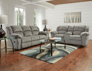 AFFORDABLE Allure Grey Reclining Sofa and Loveseat (1003-1020 ALLURE GREY)
